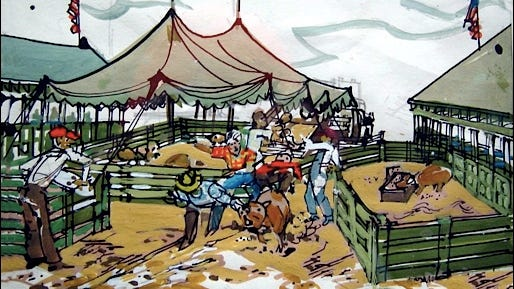 Painting of Loose Pig at YORK FAIR (1977 Artwork by Cliff Satterthwaite)