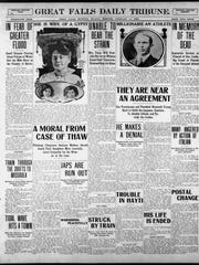 The Great Falls Tribune front page, 100 years ago