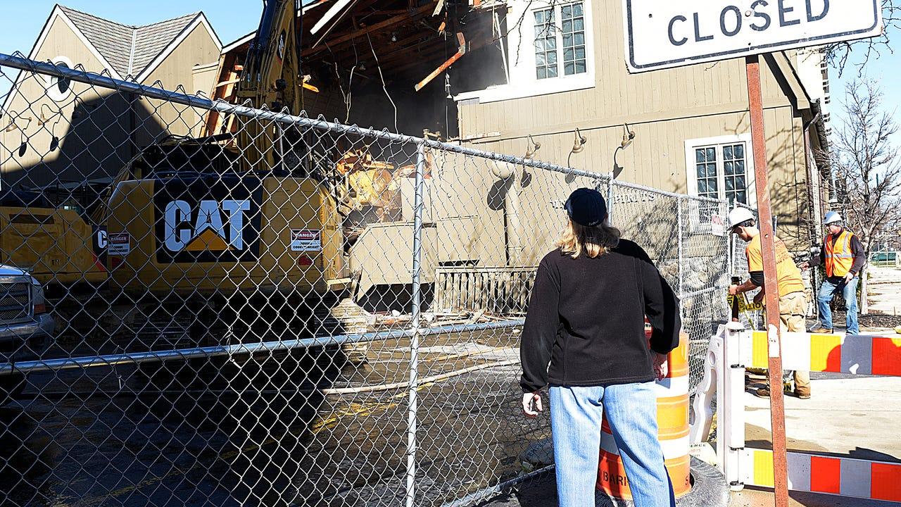 Demolition begins on former Peabody's Restaurant in Birmingham.