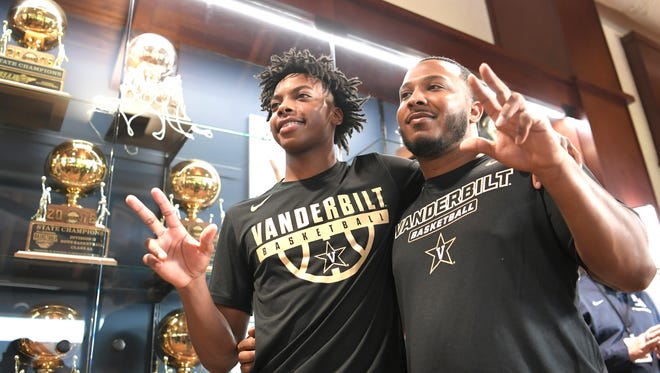 Darius Garland and his brother Desmond Nunnery celebrate Garland's college decision announced at a press conference at Brentwood Academy Monday, Nov. 13, 2017 in Brentwood, Tenn.