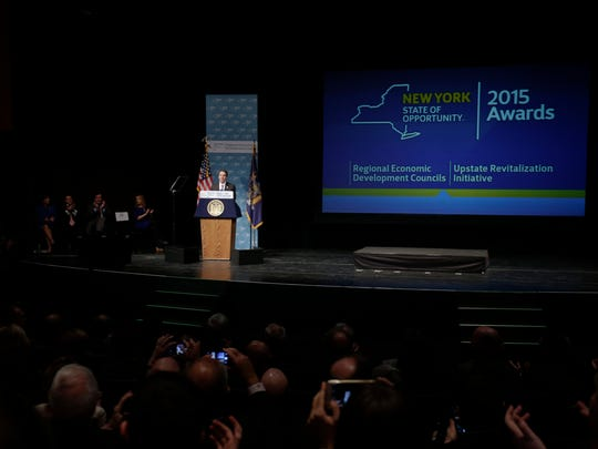 New York Gov. Andrew Cuomo speaks during an economic development awards ceremony on Thursday in Albany.