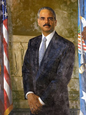 The official portrait of outgoing Attorney General Eric Holder was unveiled at the Justice Department on Feb. 27, 2015.