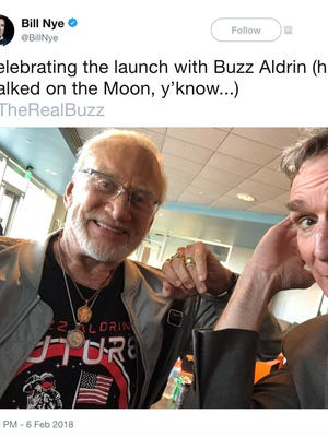Buzz Aldrin and Bill Nye celebrate the launch of the SpaceX Falcon Heavy rocket.