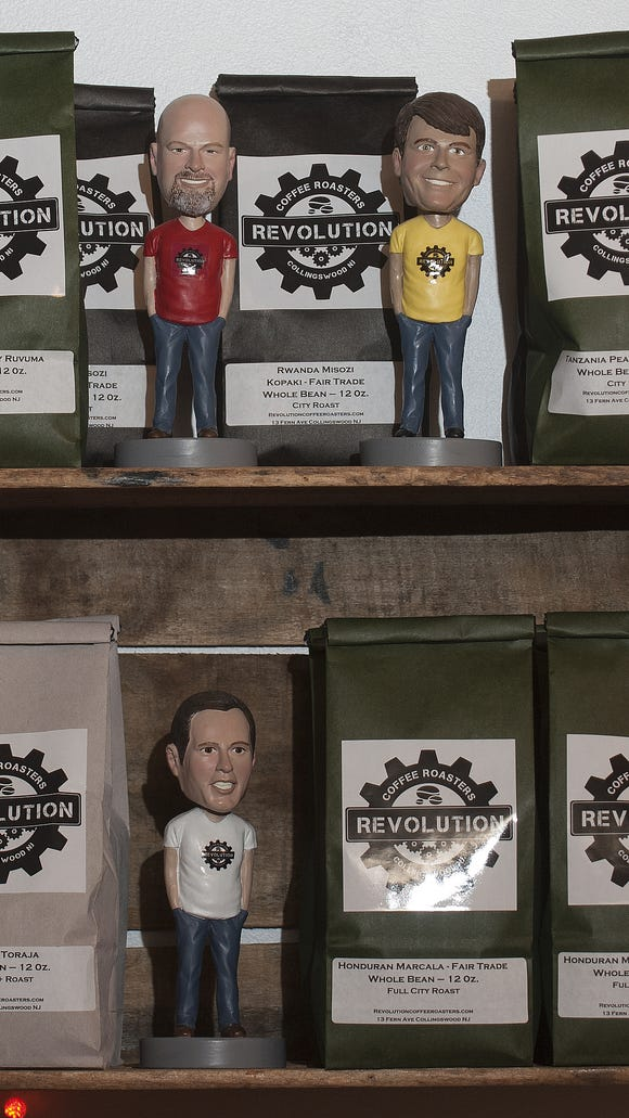 Packed coffee bags are for sale at Revolution Coffee Roasters in Collingswood. The company has an onsite coffee house that also sells growlers of ice coffee and other items (not beer).