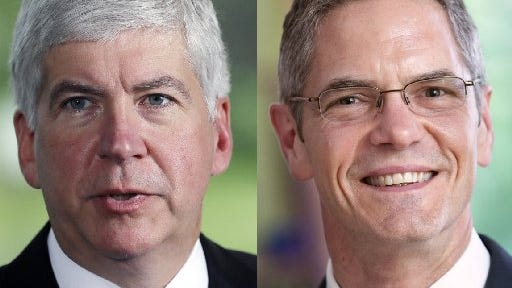 Gov. Rick Snyder, left, and Mark Schauer