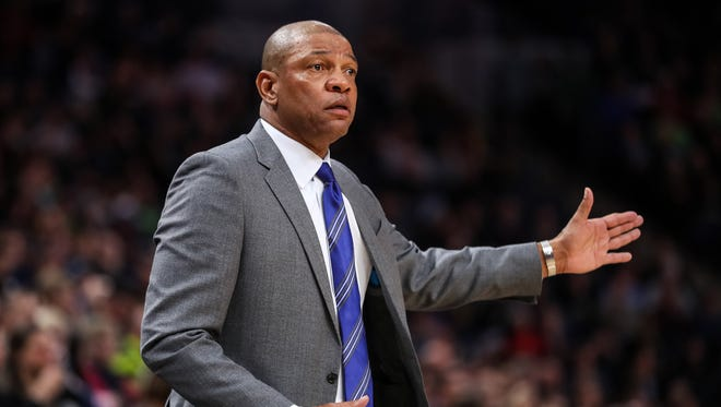 Los Angeles Clippers head coach Doc Rivers looks on during the fourth quarter against the Minnesota Timberwolves at Target Center.