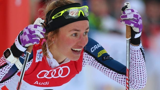 Sophie Caldwell from the U.S.   arrives  at the finish area  after the 1.2-kilometer  cross country sprint event at the FIS Tour de Ski in Oberstdorf, Germany, Tuesday Jan. 5, 2016. She won the competition.