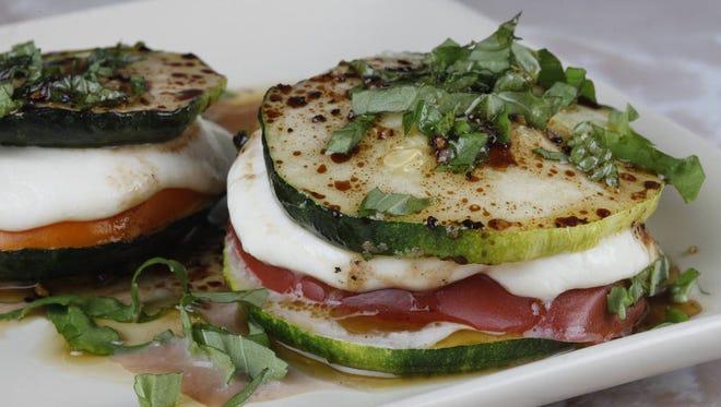 Zucchini, mozzarella and tomato stacks