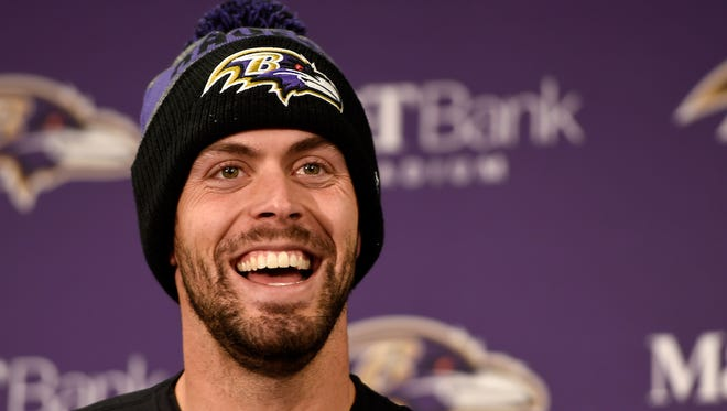 Baltimore Ravens kicker Justin Tucker (9) smiles as he answers a question after an NFL football game against the Cincinnati Bengals in Baltimore, Sunday, Nov. 27, 2016. The Baltimore Ravens defeated the Cincinnati Bengals 19-14.