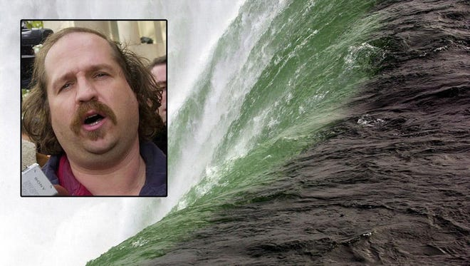Kirk Jones, of Canton, Mich., took a plunge over this area of the Horseshoe Falls in Niagara Falls, Ontario.