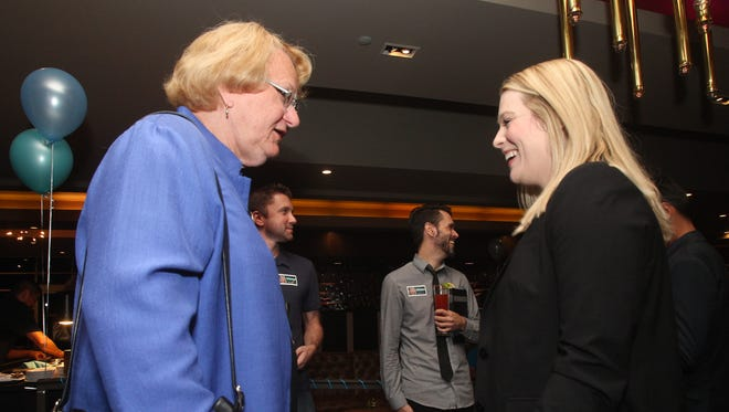 Palm Springs City Council candidates, from left, Lisa Middleton and Christy Holstege talk prior to the first election night results come in on November 7, 2017 at the Hard Rock Hotel.
