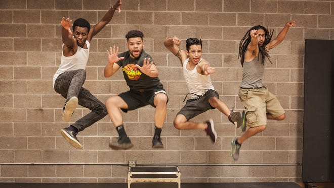 "From left to right: Julian Alexander, Josh Horton, Juan Ortega and Mark Kitanga demonstrate the kind of dynamic energy they bring to ""The Q Brothers' Othello the Remix."""