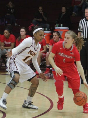 Action during a college women's basketball game between Iona and Marist at the Hynes Center in New Rochelle on Sunday, January 15th, 2017. Marist won 68-62.