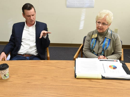 Local legislators Scott Flippo, left, and Nelda Speaks, discuss their opposition to the Medicaid expansion during a Wednesday interview.
