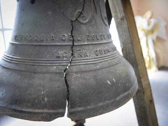 An old cathedral bell is on display at the National