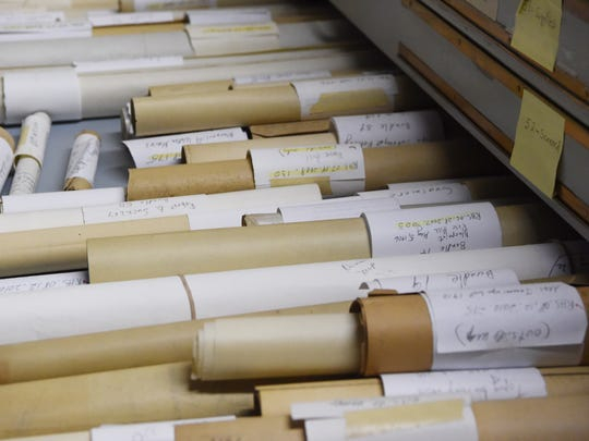A close-up of the Teal maps, stored in the basement of the Starr Library along with a host of other maps and documents by the Rhinebeck Historical Society.