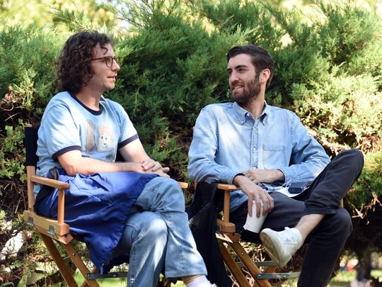 "Star and co-writer Kyle Mooney (left) and director Dave McCary on the set of ""Brigsby Bear."""