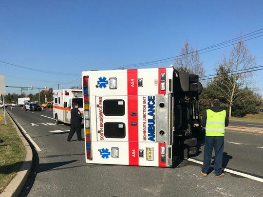 An ambulance flipped over on its side Tuesday in South Brunswick.