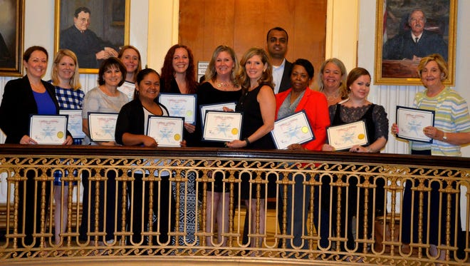 New CASA volunteers are (from left) Kathleen Walsh of New Providence, Celeste Maslovsky of Watchung, Michelle Lessner of Westfield, Kristi Abbey of Berkeley Heights, Nohemy Morales of Linden, Kristine Lockwood of North Plainfield, Nancy Kinney of Mountainside, Johanna Aguilera and Naveen Nagarajan of Summit, Sheri Glover-Flanagan of Scotch Plains, Ruth Tolles of Summit, Arielle Bennett of Brooklyn, New York, and Catherine Renga of Clark. Not pictured is Deborah Jones of Linden, who will be sworn in at a later date.