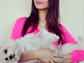 """Victoria Justice couldn't help but reference """"Mean Girls"""" as she donned a Barbie pink top and lipstick to take this sweet photo with her dog Sophie."""