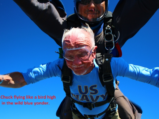 Chuck Chapeta, 91, said he flew like a bird as he and tandem instructor Kazu Oyama free-fell. Chapeta went skydiving to celebrate his 91st birthday.