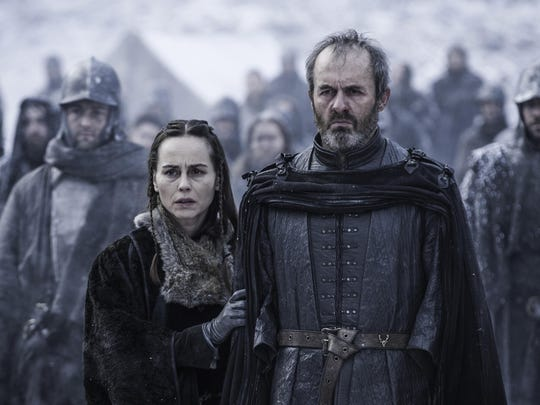 "Tara Fitzgerald and Stephen Dillane in season five of ""Game of Thrones."""