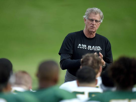 Former Belhaven coach Hal Mumme, one of the original architects of the air raid offense, is in his first spring as Jackson State's offensive coordinator.