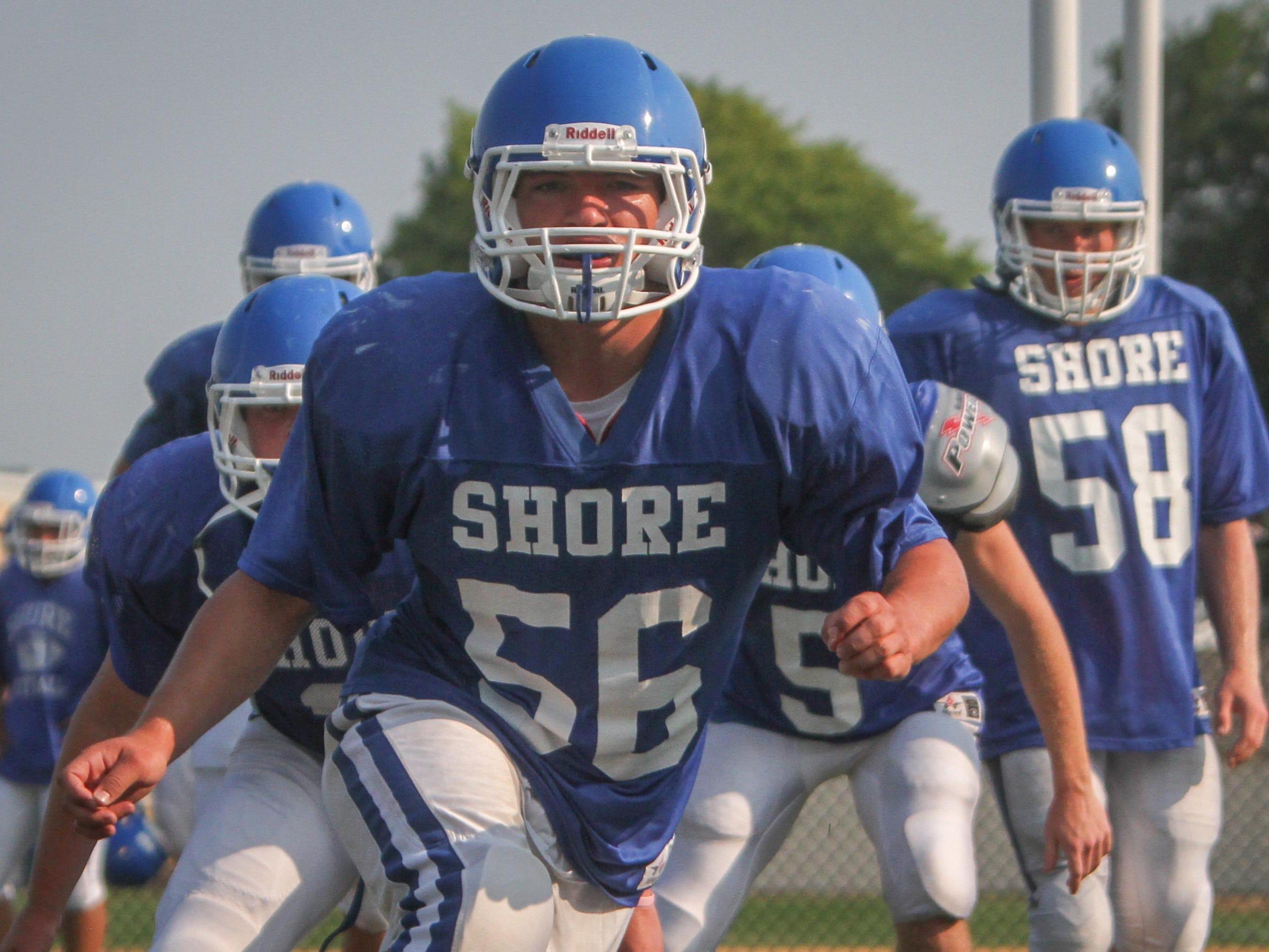 Shore Regional's Doug Goldsmith practices Aug. 17.