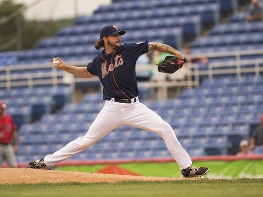 Binghamton Mets pitcher Robert Gsellman pitches last season at NYSEG Stadium.
