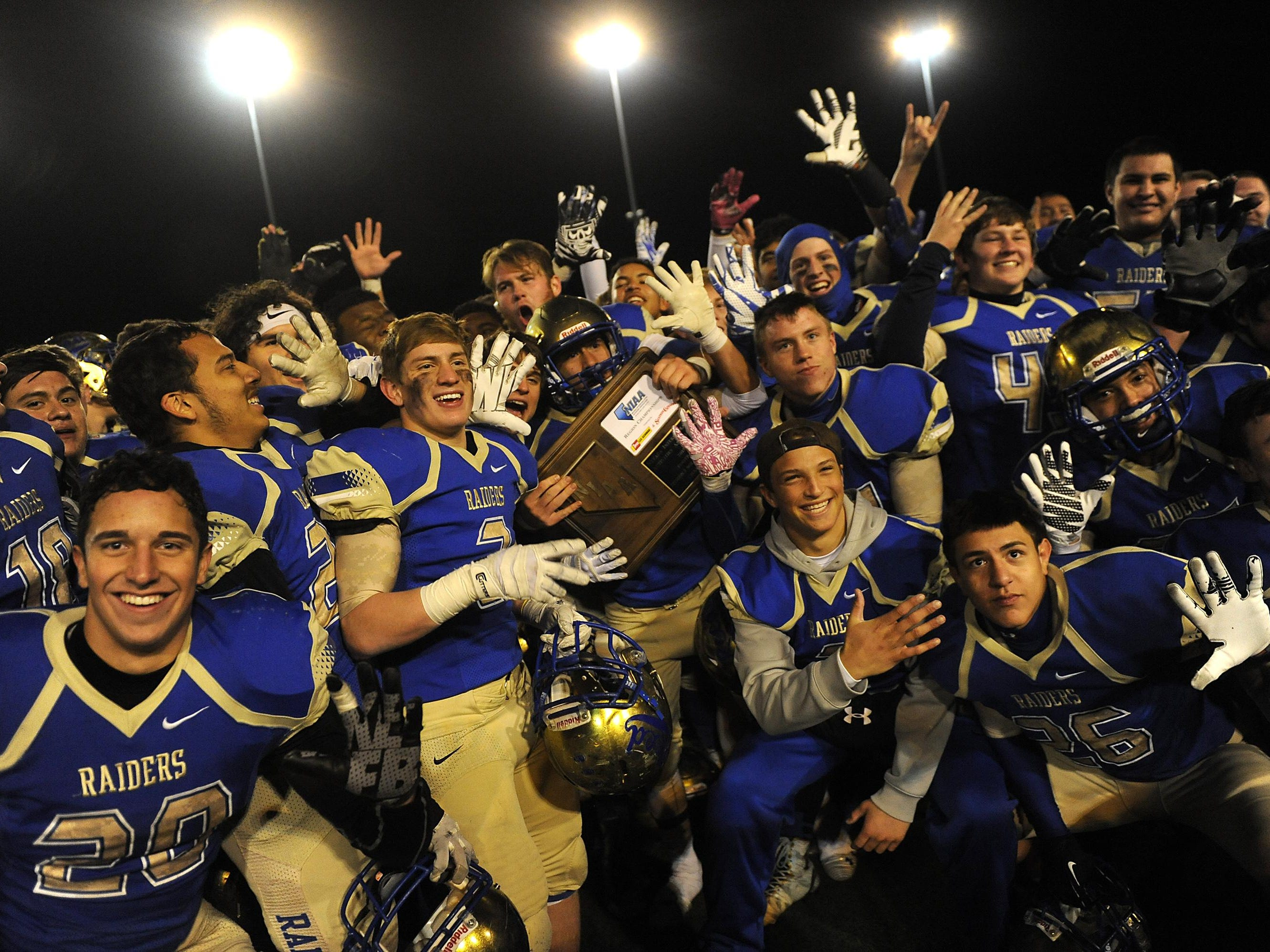 Reed celebrates after defeating Carson for the NIAA D-I north region championship at Damonte Ranch High School in Reno on Friday.