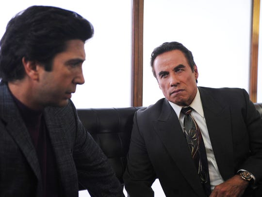 Pictured: (l-r) David Schwimmer as Robert Kardashian, John Travolta as Robert Shapiro.
