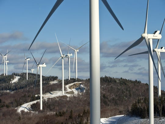 The Kingdom Community Wind project in Lowell seen in 2012.