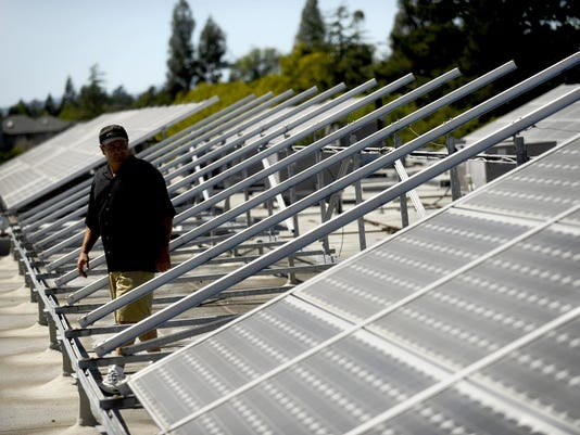 Ken Martin Jr. lost 58 panels from the roof of an office building he owns in Santa Rosa, Calif.