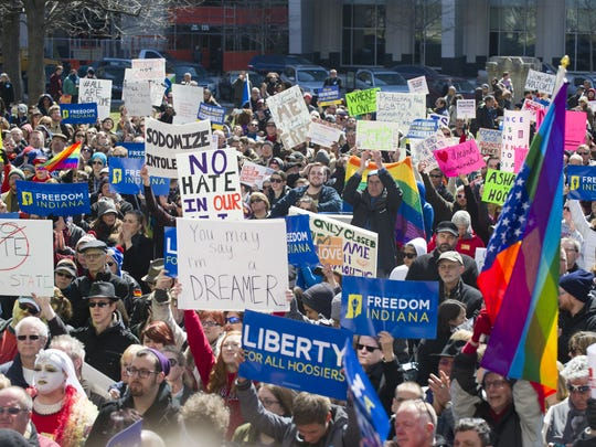 Thousands of opponents of Indiana Senate Bill 101, the Religious Freedom Restoration Act, gathered to rally against that legislation March 28, 2015, on the lawn of the Indiana Statehouse.