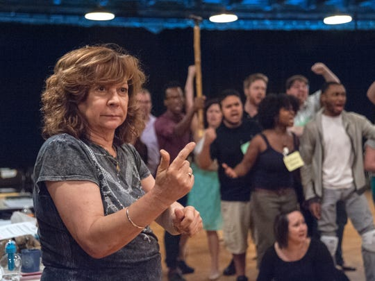 "Lillian Groag directs the rehearsal of the end of Act Two of Kentucky Opera's upcoming production of Beethoven's ""Fidelo"" in the ArtSpace building on Broadway in downtown Louisville. September 7, 2014"