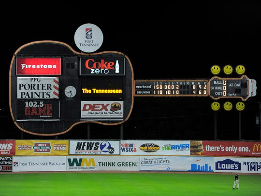 The guitar-shaped scoreboard has been at Greer Stadium since 1993.