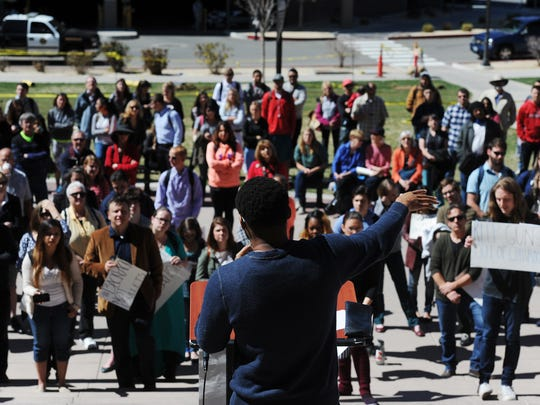 "Escenthio Marigny Jr., president of the Reno Justice Coalition, speaks during a planned protest against the ""campus carry"" bill at the University of Nevada in Reno on March 25, 2015."