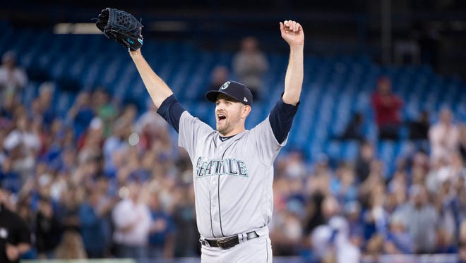May 8, 2018: Seattle Mariners starting pitcher James Paxton celebrates after pitching a no-hitter in a 5-0 win over the Toronto Blue Jays at Rogers Centre.
