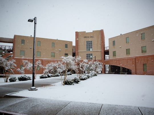 Piñon Hall at New Mexico State University is blanketed