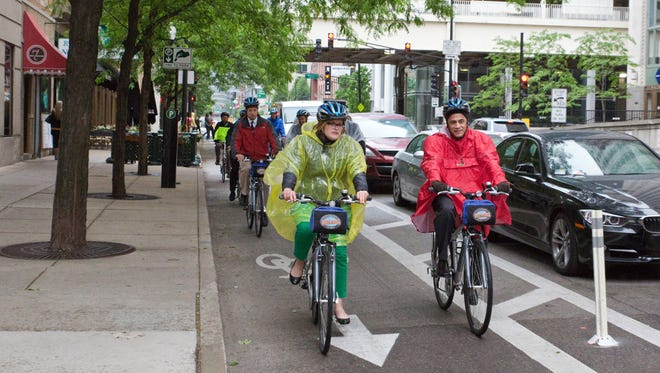 Here's an example of what one of the protected bike lanes looks like. This one is in Chicago.