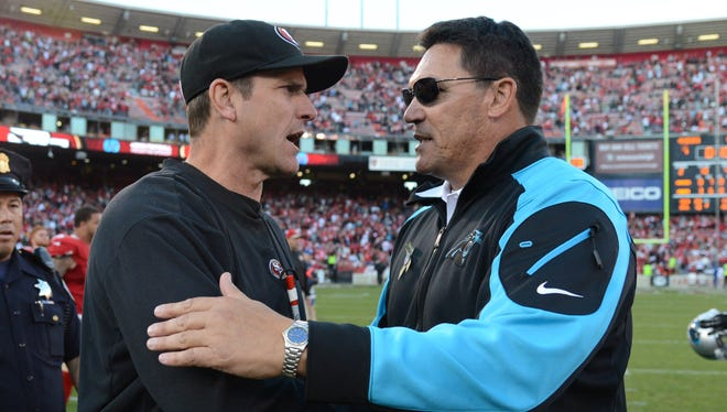 The Panthers and Ron Rivera, right, got the better of Jim Harbaugh's 49ers in November.