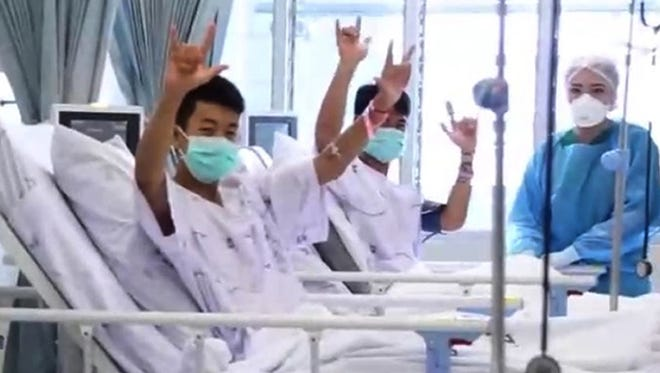 A handout photo made available by the Thai government public relations department (PRD) on July 11, 2018 shows the first pictures of the boys from a youth soccer team as they are treated at the hospital in Chiang Rai.