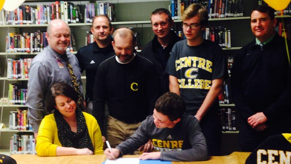 North Buncombe senior Tommy Apostolopoulos signed to play college football for Centre (Ky.) on Wednesday.