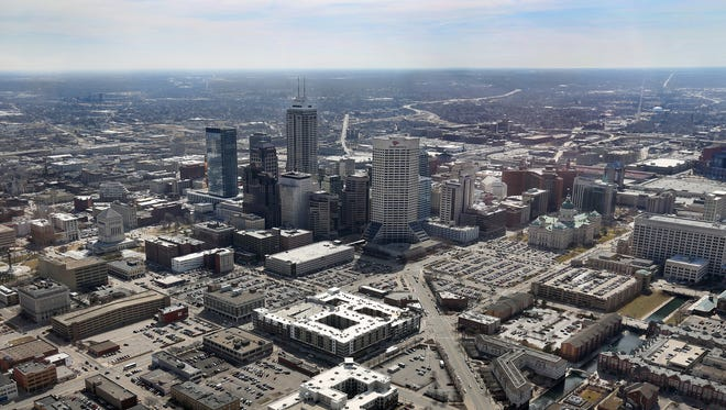 Downtown Indianapolis is seen in this aerial view taken on March 16, 2015.