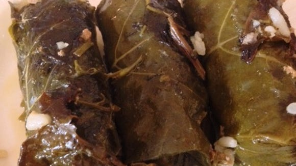 I wait all year for these delicious dolmades, also know as stuffed grape leaves. Delicious. As always.