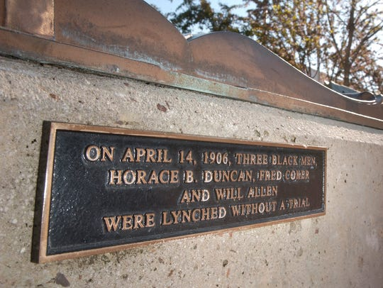 A plaque in Park Central Square honors Horace B. Duncan,