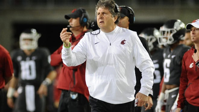 Washington State coach Mike Leach looks on against USC during the Cougars' 30-27 win on Sept. 29.