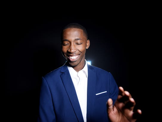 David Wright Jr. laughs during  the photo shoot.
