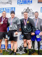 """Four Somerset County corrections officers -Officer Steven Bouziotis, (left to right) Sgt. Gregory Quintero, Officer Daniel Soffer and Officer Napoleon Freeman - competed in the Police Fitness & Nutrition and City Challenge Race """"Battle of the Frontlines""""held May 19 in Laurel Hill Park. The SCJ Warriors took second place in the competition."""