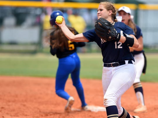 Aucilla Christian's Kaylie Rogers makes a throw to first base Thursday, May 18, 2017 during the state title game during the FHSAA Class 2A state championship at Historic Dodgertown in Vero Beach. The Warriors lost 2-1 in nine innings.